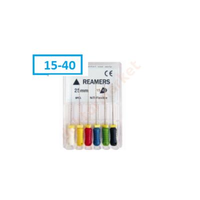 Endo REAMERS-File , NITI, 6 db 15-40 (25mm) Többféle méretben