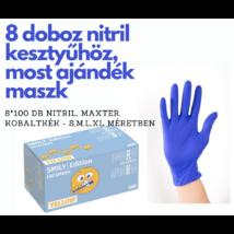 8 x100 db Nitril kesztyű, kobalt kék+  1 doboz 50db smily mintás, 3 rétegű maszk - csak fogorvosoknak!